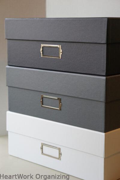 Large photo storage boxes from HeartWork Organizing