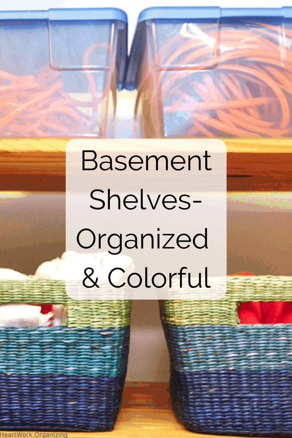 Basement Shelves Organized and Colorful