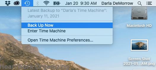 Turn on Time Machine on Mac from menu bar