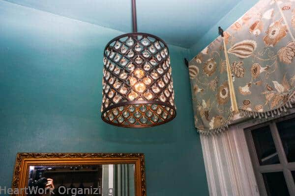 light with crystals for tiny bathroom
