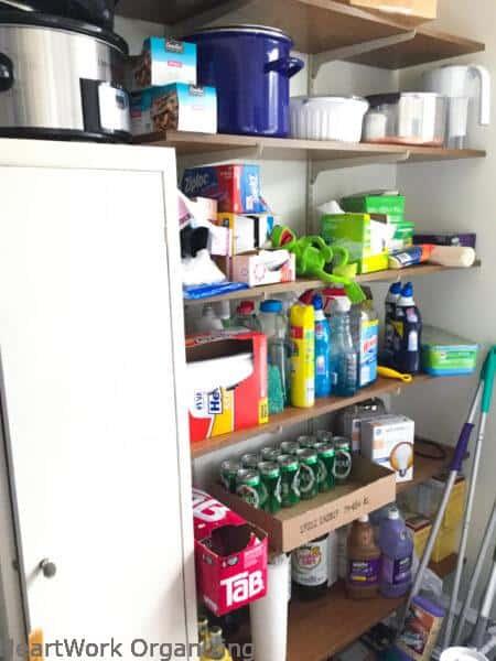 Open shelf pantry BEFORE organizing