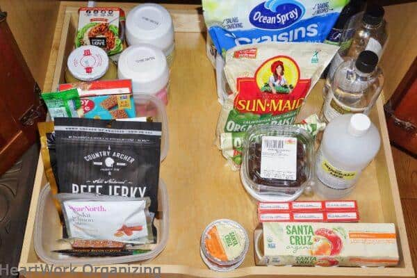 snack drawer after organizing