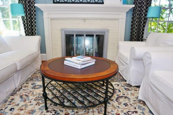 white slipcovered couch and living room furniture