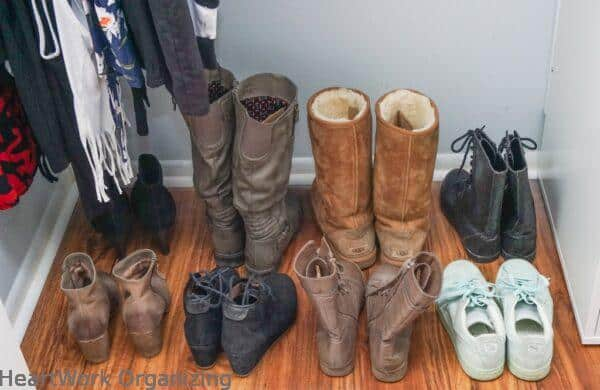 teen closet organizing makeover for shoes and boots