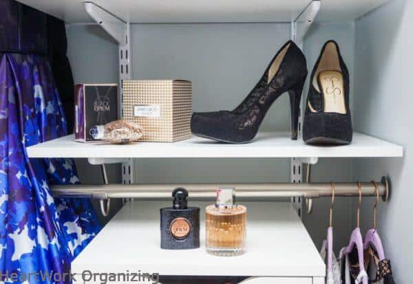 teen closet organizing makeover displaying shoes
