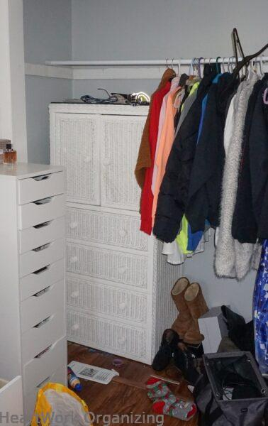 teen closet organizing makeover before