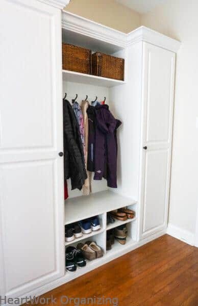 mudroom cabinet organizing-after