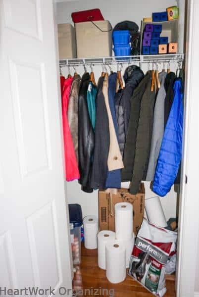 mudroom coat closet with tp
