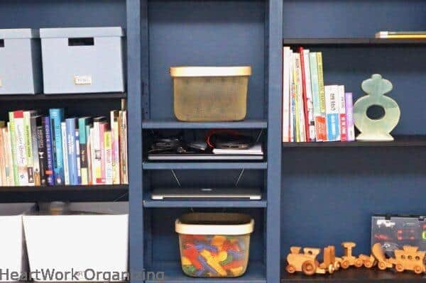 How to Organize a Small Home Without a Closet- computer storage in IVAR shelves