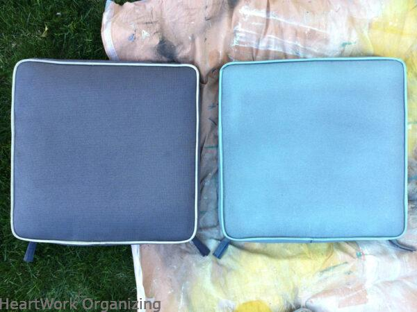 How to Paint Patio Cushions-after 2 coats