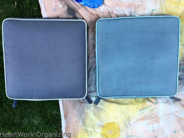 How to Paint Patio Cushions-after one coat